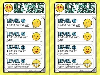 Emoji Self Assessment 4-point Scale FREEBIE
