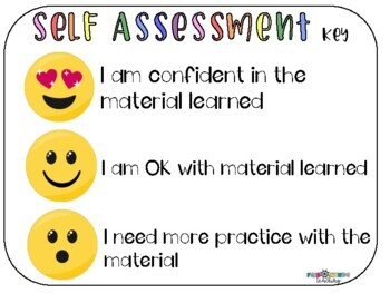 Emoji Self Assessment pinch cards and posters