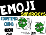 Emoji Shamrock Counting coins Math Center St. Patrick's Day Center