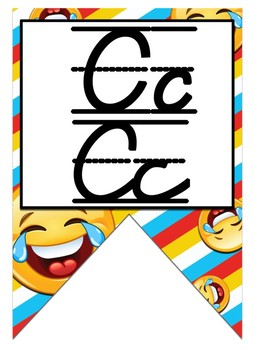 Emoji (Smiley) themed D'Nealian print and cursive Alphabet banner