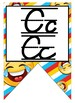 Emoji (Smiley) themed D'Nealian manuscript and cursive Alp
