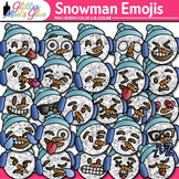 Emoji Snowman Clip Art {Winter Emoticon & Smiley Faces for