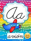 Emoji Spanish Cursive Alphabet posters (Abecedario cursivo)
