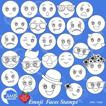 Emoji Stamps Clipart, Emoticons Clipart, Smiley Face, Feelings Clipart, AMB-2251