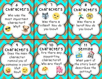 Emoji Story Element Task Cards