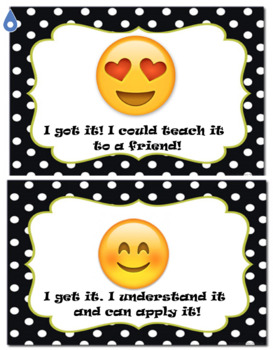 Emoji Student Self Assessment Chart