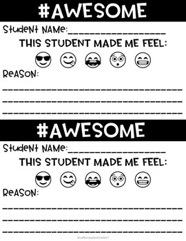 Emoji Student Shout Out Forms #kindness