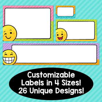 Emoji Theme Classroom Decor Editable Supply Labels
