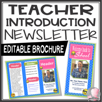 Emoji Teacher Introduction Brochure and Newsletter Template- Editable PowerPoint