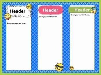 Emoji Teacher Introduction Brochure and Newsletter Template- Editable PowerPoint
