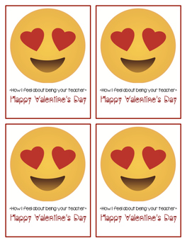 Emoji Teacher Valentines