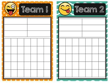 Emoji Team Caddy Labels and Reward Cards