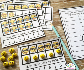 Emoji Ten Frame Task Cards Making Ten with Emoji Friends