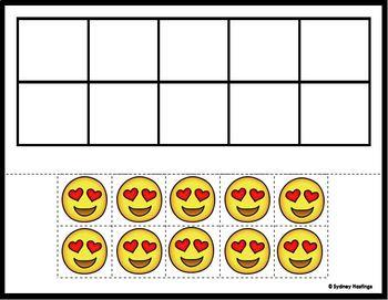 Ten Frame Emoji Practice Mat FREEBIE