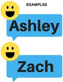 Emoji Text Bubble Classroom Name Tags