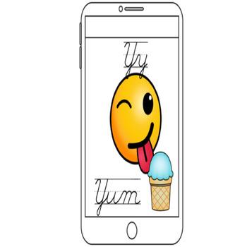 Emoji Theme Cursive Alphabet Posters