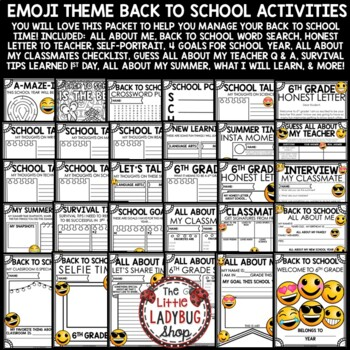Emoji Back To School Activities 6th Grade - All About Me Poster & More