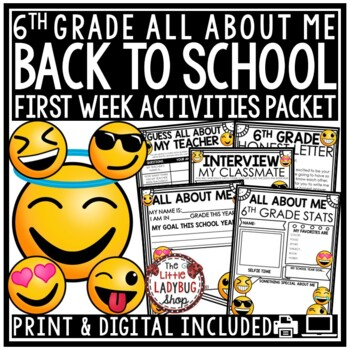Back to School 6th Grade -Middle School All About Me Poster First Week of School