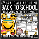 All About Me 6th Grade Back to School Distance Learning, Beginning of the Year