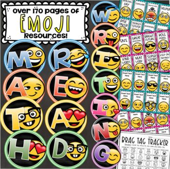 Emoji Theme Class Decor Bundle (Behavior Chart, Name Plates, Labels, Signs)