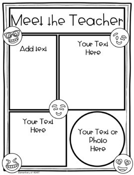 Emoji Theme Editable Teacher Newsletter Templates- Meet the Teacher