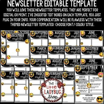 Emoji Theme Monthly & Weekly Newsletter Template Editable
