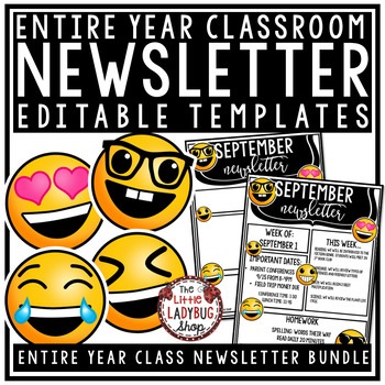 Editable Newsletter Templates - Emoji Theme Weekly Newslet