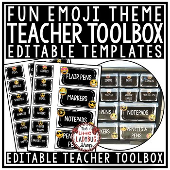 Teacher Toolbox Labels EDITABLE- Emoji Back to School