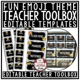 Emoji Theme Teacher Toolbox Labels EDITABLE- Emoji Classroom Theme
