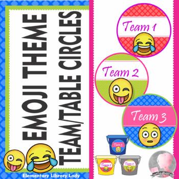 Emoji Theme Team & Table Circle Signs  - EDITABLE