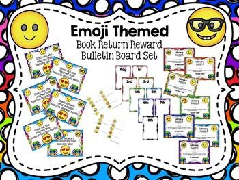 Emoji Themed Book Return Reward Bulletin Board Set {with Editable Certificates}