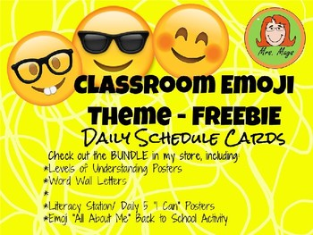 Emoji Themed Classroom Decor - Schedule Cards