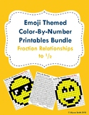Emoji Themed Color-By-Number Printables Bundle: Fraction Relationships to 1/2