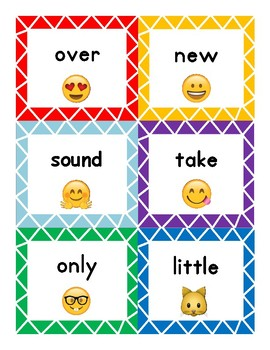 Emoji Themed Fry Word Flashcards-Second 100