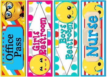 Emoji Themed Labels & Tags & Hall Passes Bundle