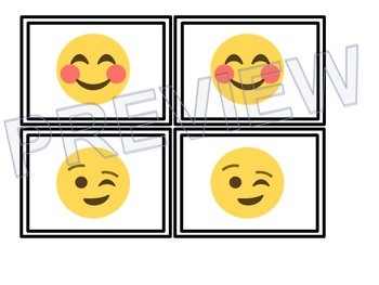 Emoji Themed Memory Matching Partner Cards (White Series)