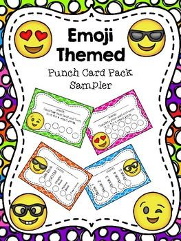Emoji Themed  Punch Card SAMPLER