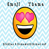 Emoji Themed Riddles and Homework Boxed Out