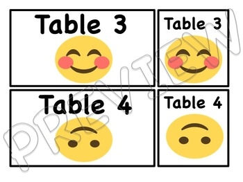Emoji Themed Table and Group Card Labels