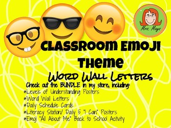 Emoji Themed Word Wall Letters