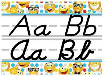 Emoji Themed cursive and print alphabet strip