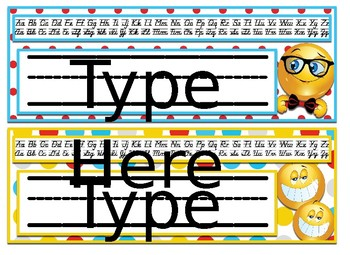 Emoji Themed editable nameplates