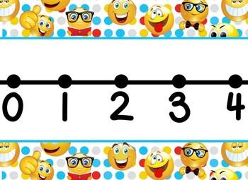 Emoji Themed number line 0-100