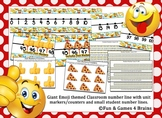 Giant Emoji Themed Classroom number line and small student number lines