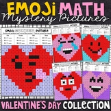 Emoji Valentine's Day Mystery Pictures - 2 and 3 Digit by 1 Digit Multiplication
