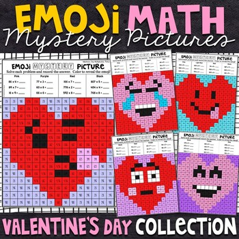 Emoji Valentine's Day Mystery Pictures | Valentine's Day Color by Number