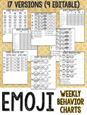 Emoji Weekly Behavior Charts *EDITABLE*