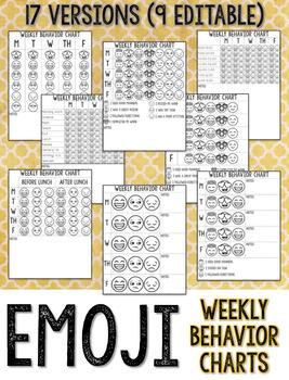 Emoji Weekly Behavior Charts *EDITABLE*