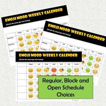 Emoji Weekly Mood Calendar
