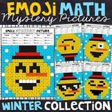 Emoji Winter Mystery Pictures - 2 and 3 Digit by 1 Digit Multiplication